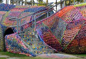 Crocheted Aligator Playground in São Paulo by Olek