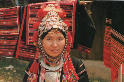Akha Villagers traditional embroidery