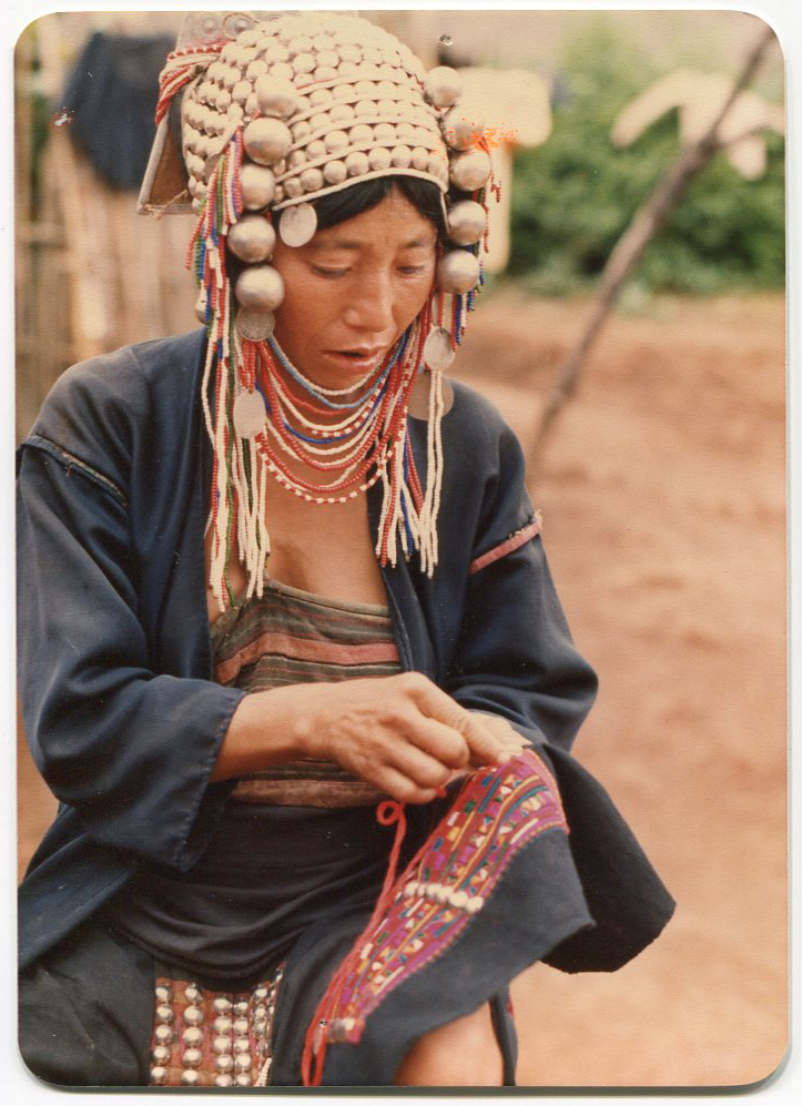Akha Woman Embroidering