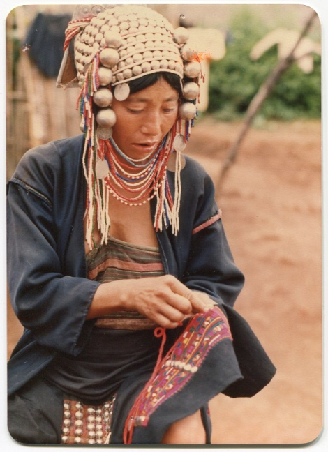 Akha Woman Embroidering
